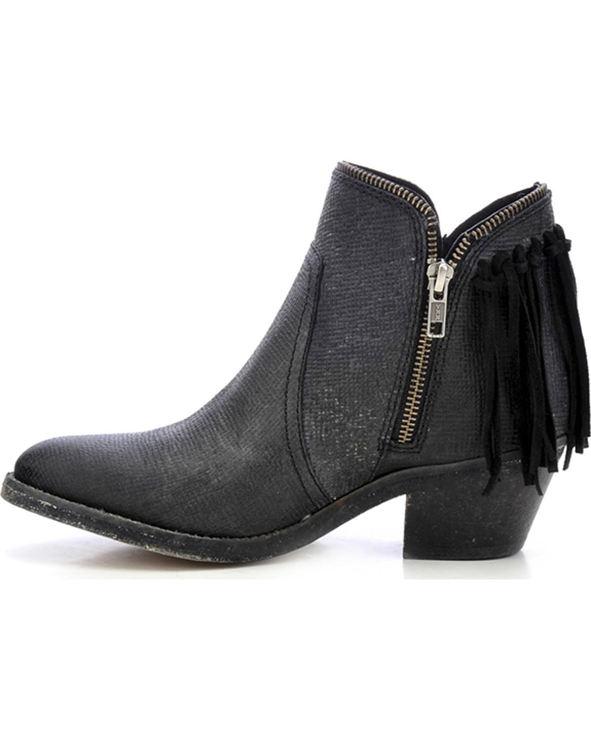 Circle Round G Fringe Zip Booties Round Circle Toe P5123 0d5946