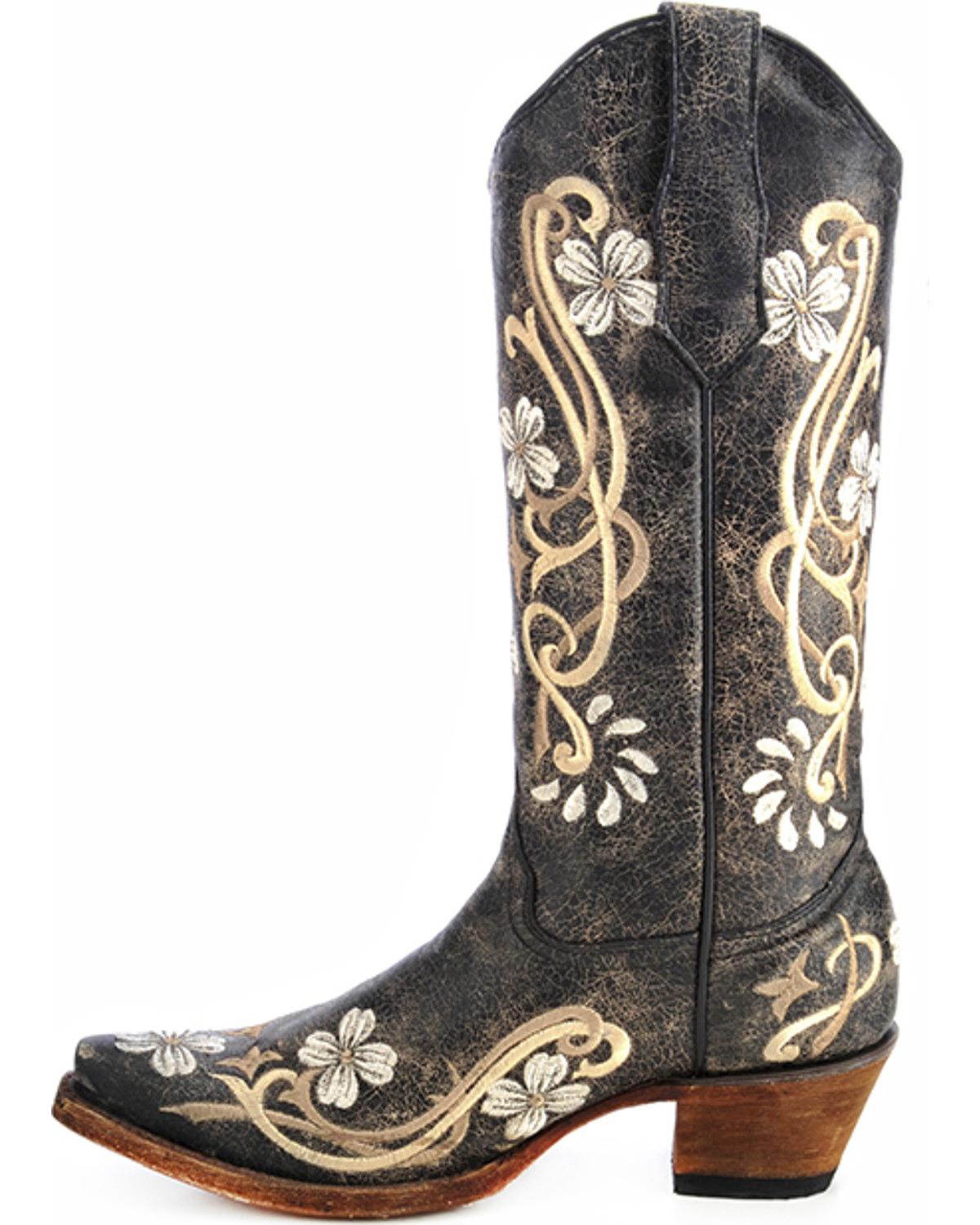 Women Circle G Floral Embroidery L5175 Black Multi Western Cowgirl ...
