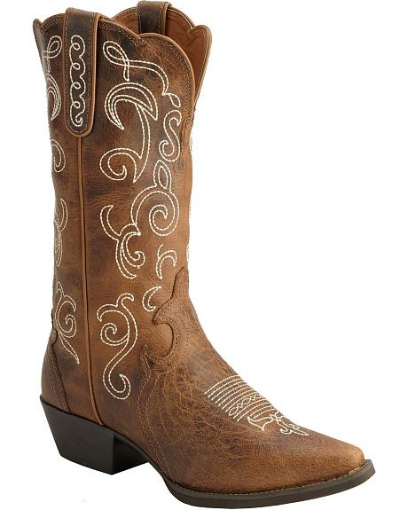 Justin Fancy Stitched Stampede Cowgirl Boots Snip Toe