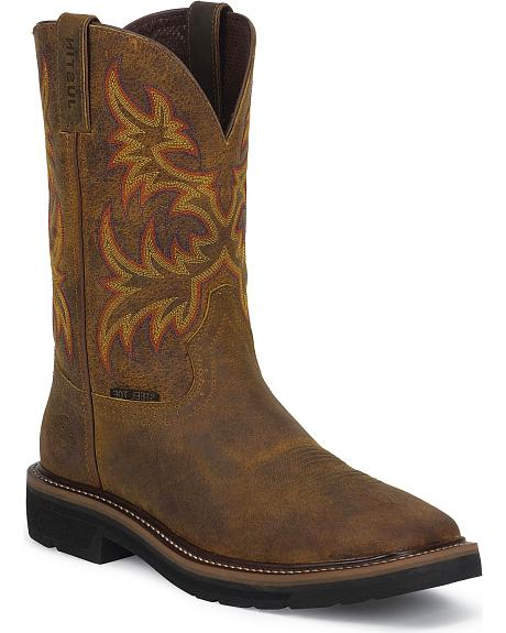 Justin Stampede Work Boots Square Steel Toe Sheplers