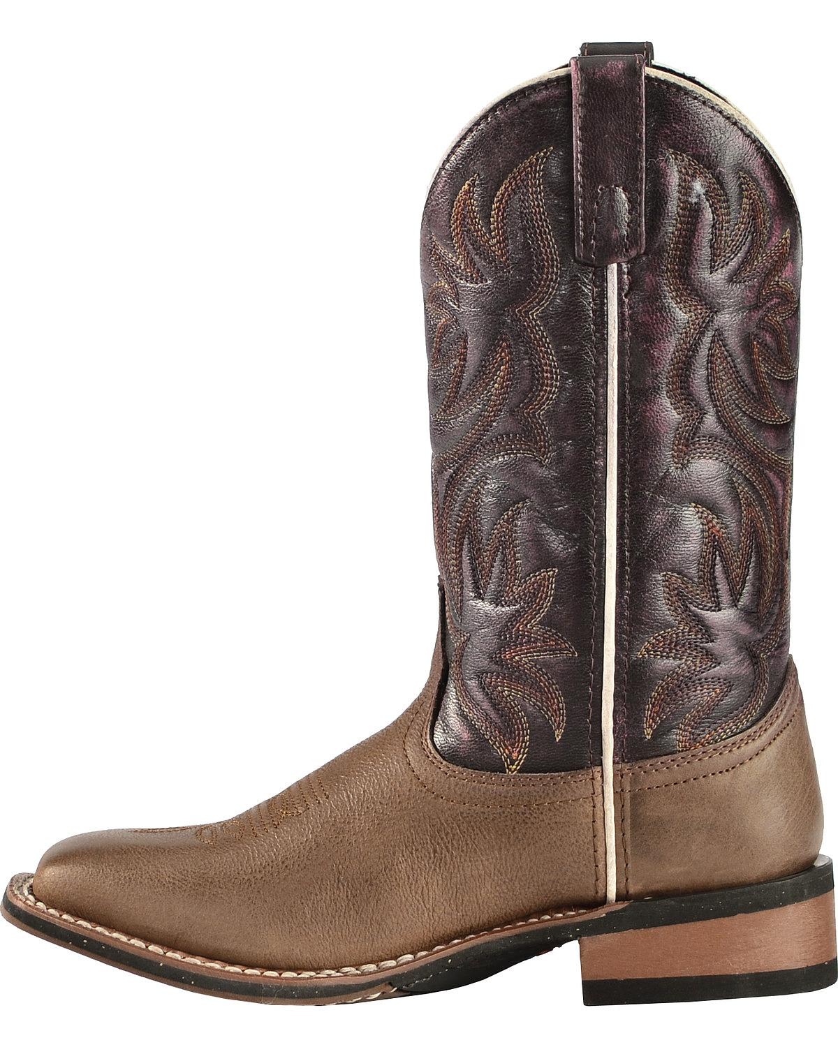 Laredo Women's Fancy Stitched Purple Cowgirl Boot Square