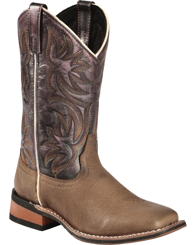 Laredo Women's Fancy Stitched Purple Cowgirl Boot Square