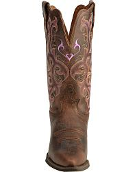 Justin Chocolate Puma Cowhide Stampede Cowgirl Boots