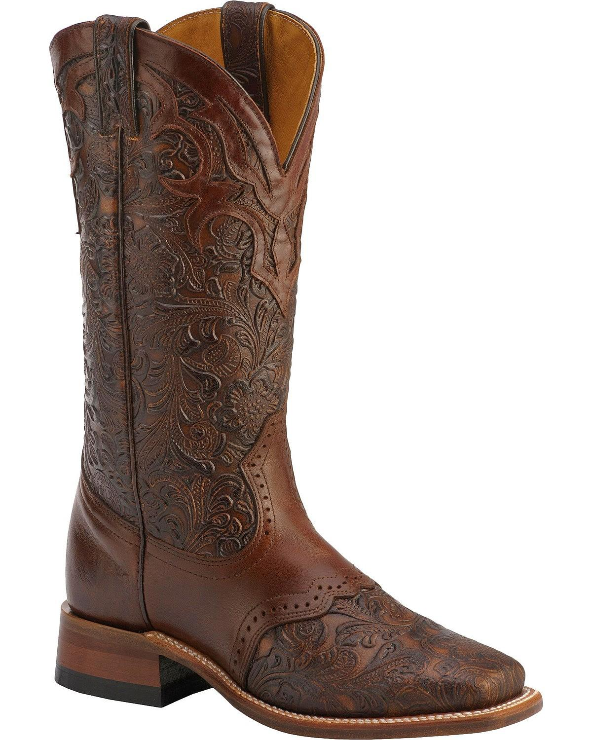Boulet Hand 4311 Tooled Ranger Cowgirl Boot Square Toe 4311 Hand d622fc