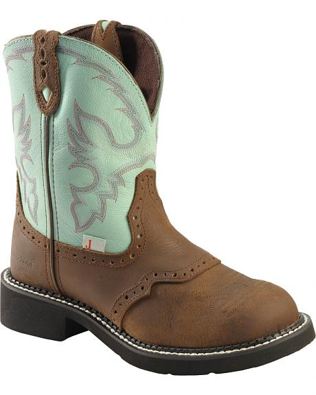 Justin Waterproof Gypsy Teal Cowgirl Boots Round Toe