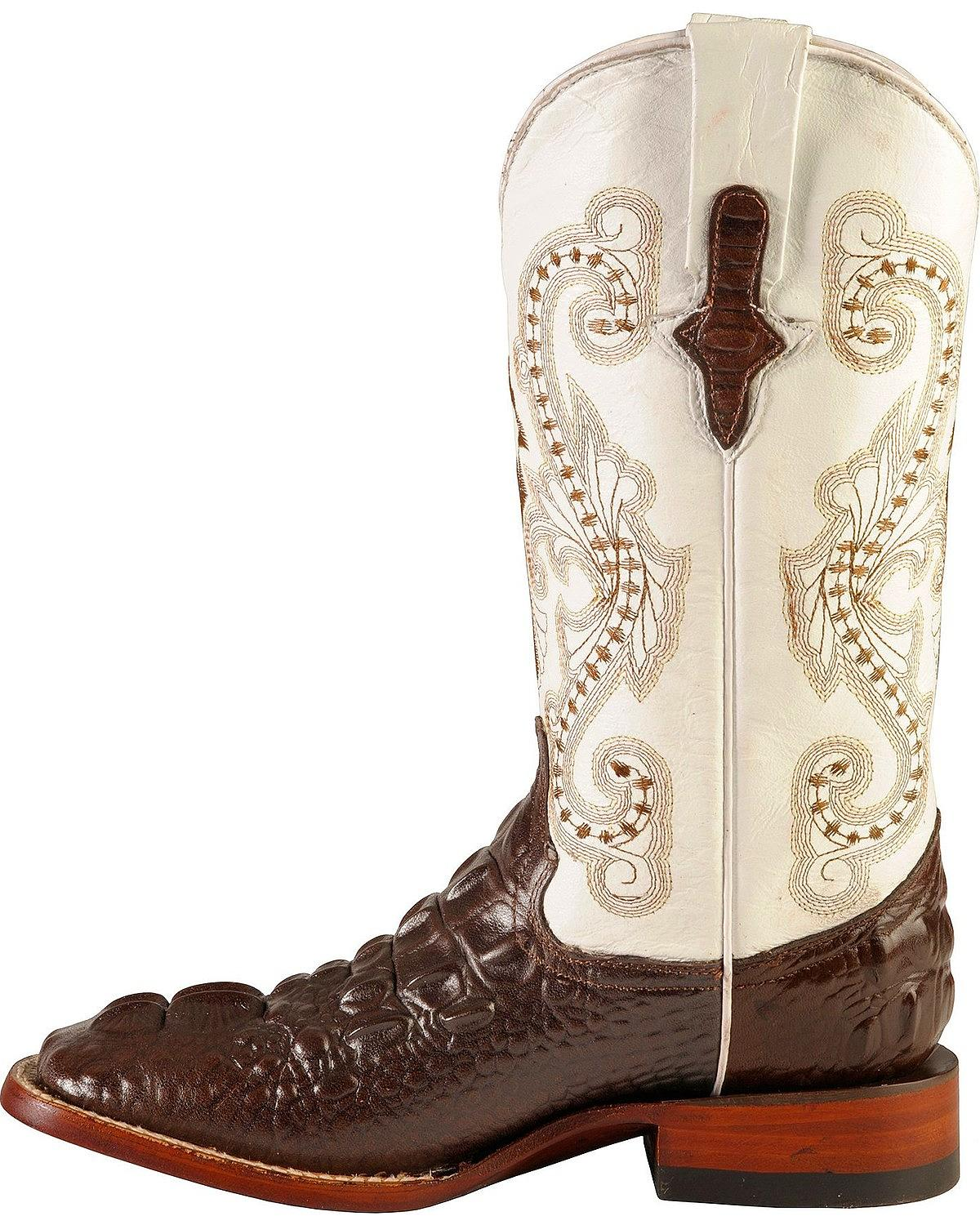 c087d2e0944 Details about Ferrini Hornback Caiman Print Cowgirl Boot - Wide Square Toe  - 9049309