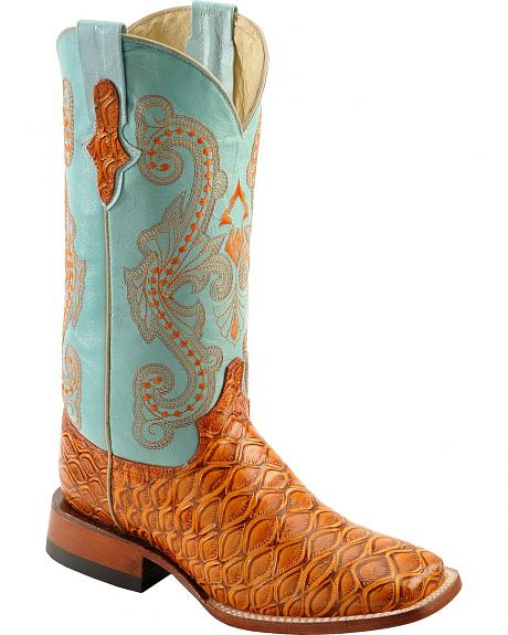 Ferrini Cognac Anteater Print Cowgirl Boots Wide Square