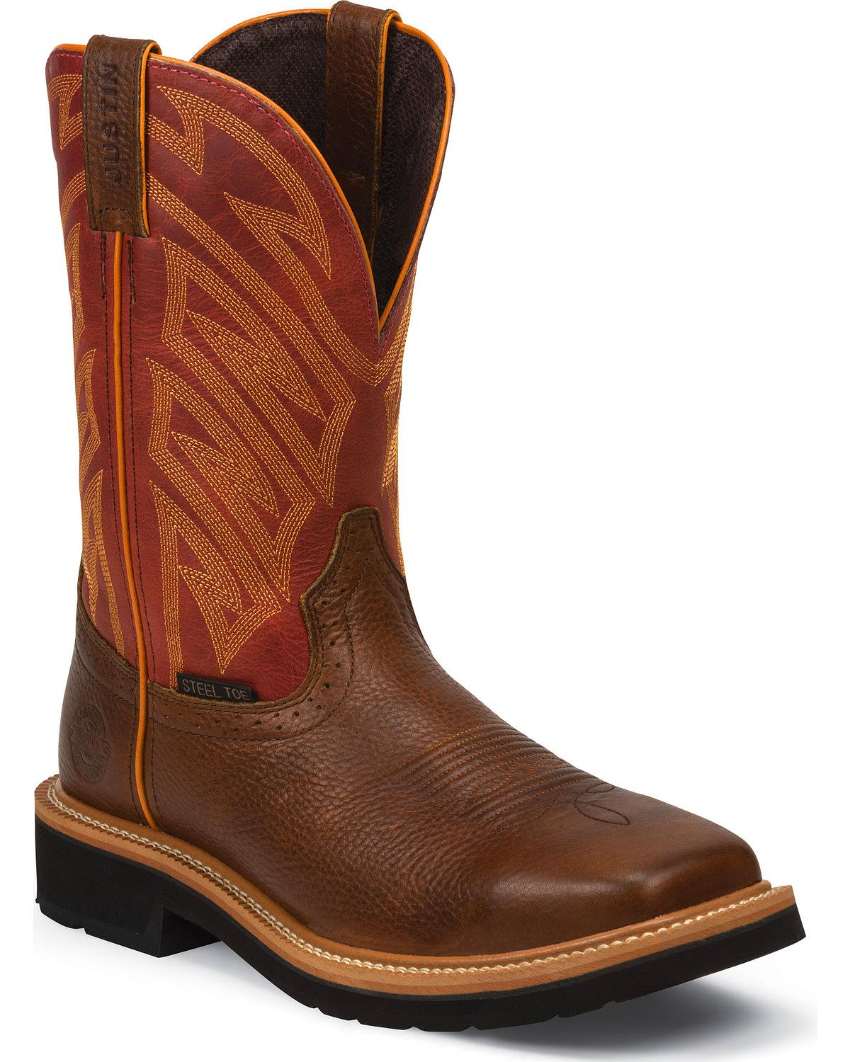 Jow Men S Justin Original Work Boot Stampede Square Steel