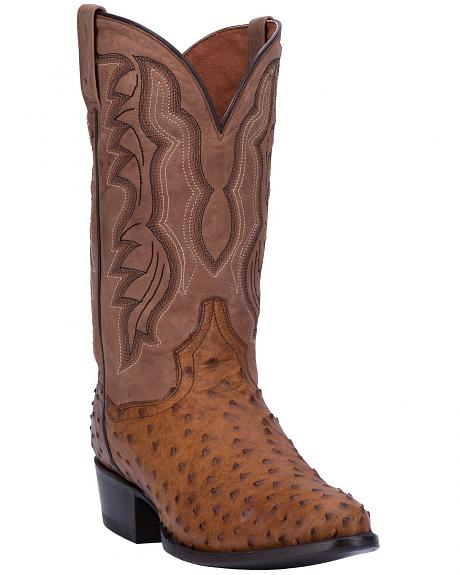 Dan Post Tempe Full Quill Ostrich Cowboy Boots Round Toe