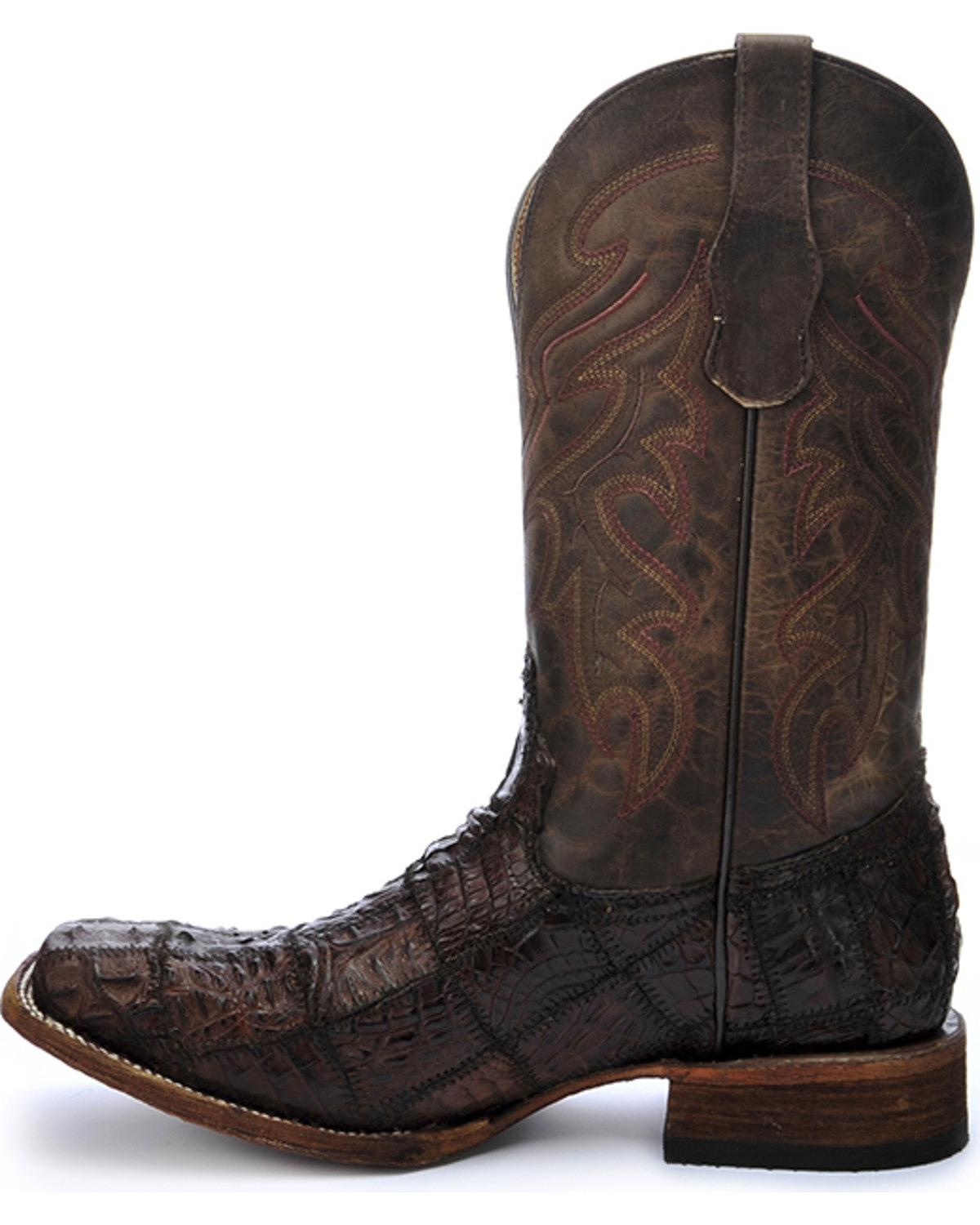 Circle G Women S Diamond Embroidered Cowgirl Boot Square: Circle G Men's Caiman Patchwork Cowboy Boot Square Toe