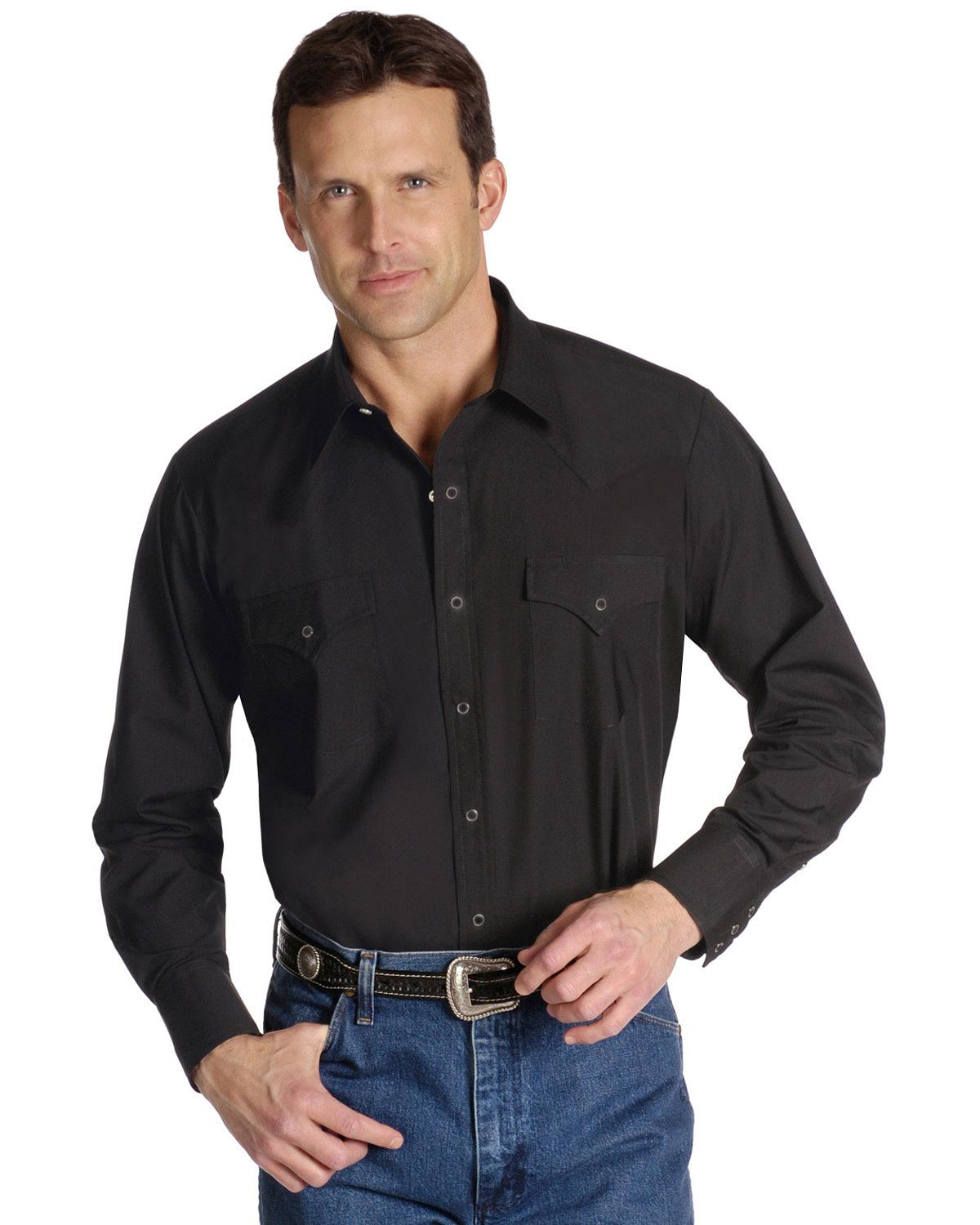 cc7f30f3 Ely Cattleman Men's Long Sleeve Solid Western Shirt Big and Tall -  15201905-89t 2xlt Black 2xt. About this product. Picture 1 of 2; Picture 2  of 2