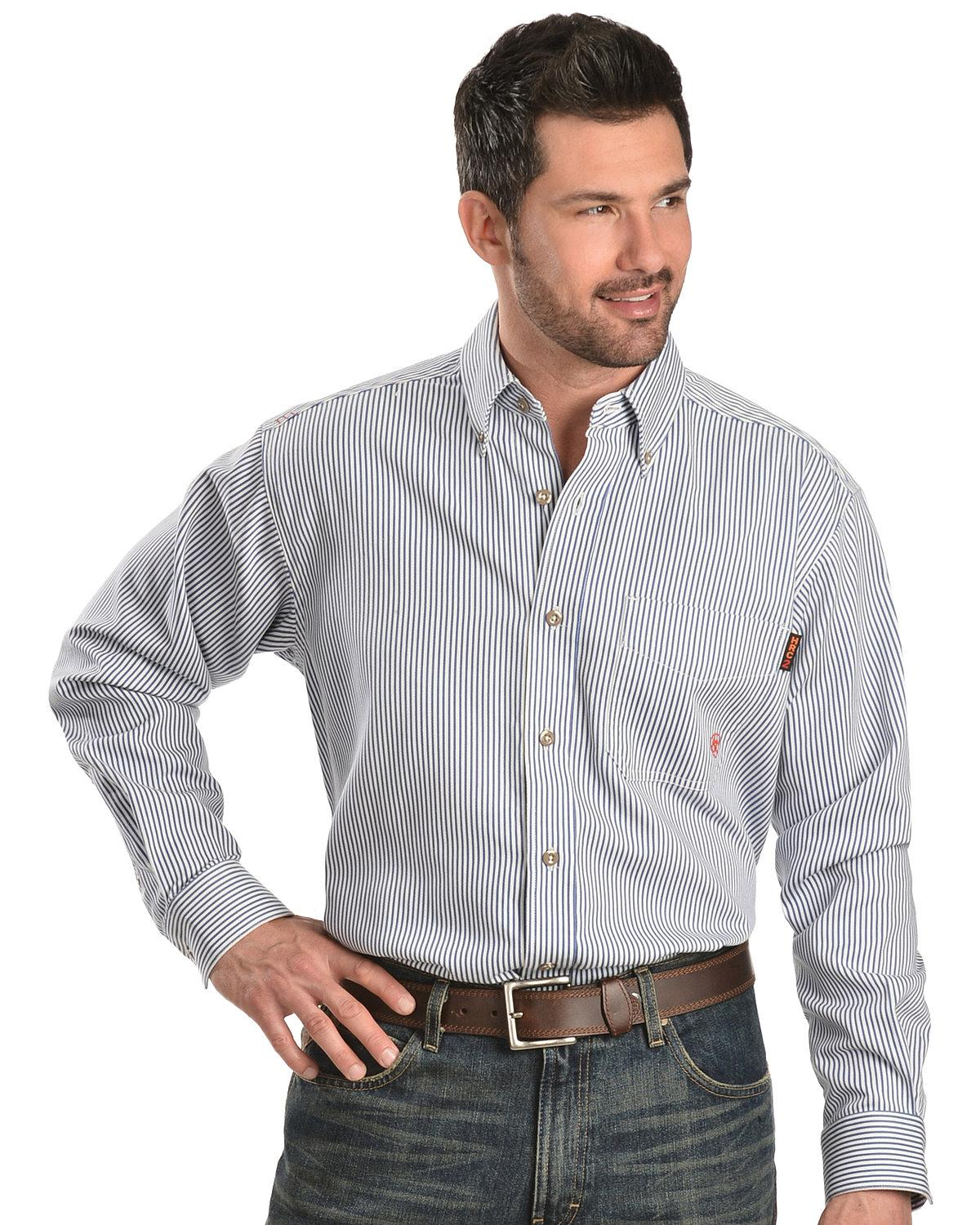 59bee784aad Ariat Men s Flame-Resistant Blue Striped Work Shirt - Big and Tall ...