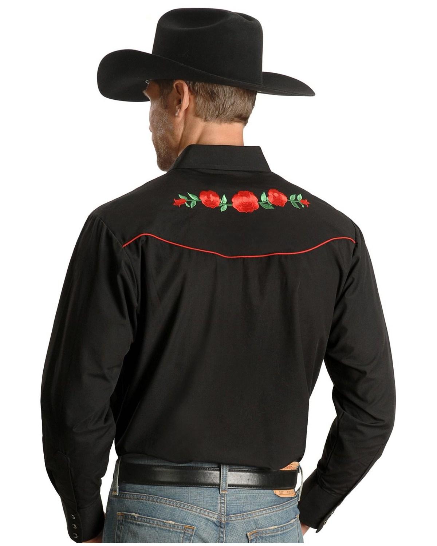 e5665f677d Ely Cattleman Embroidered Rose Design Western Shirt - 15203901-88BLK ...
