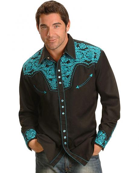 Scully Turquoise Hued Embroidery Retro Western Shirt Sheplers