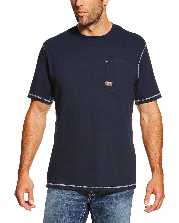 f734f24d6548 Ariat Men's Navy Rebar Crew Short Sleeve Pocket Tee - Tall Navy ...