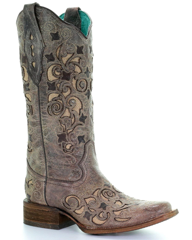 Garanzia di vestibilità al 100% Corral Corral Corral Donna  Jute Inlay Cowgirl avvio - Square Toe - A3227  più economico