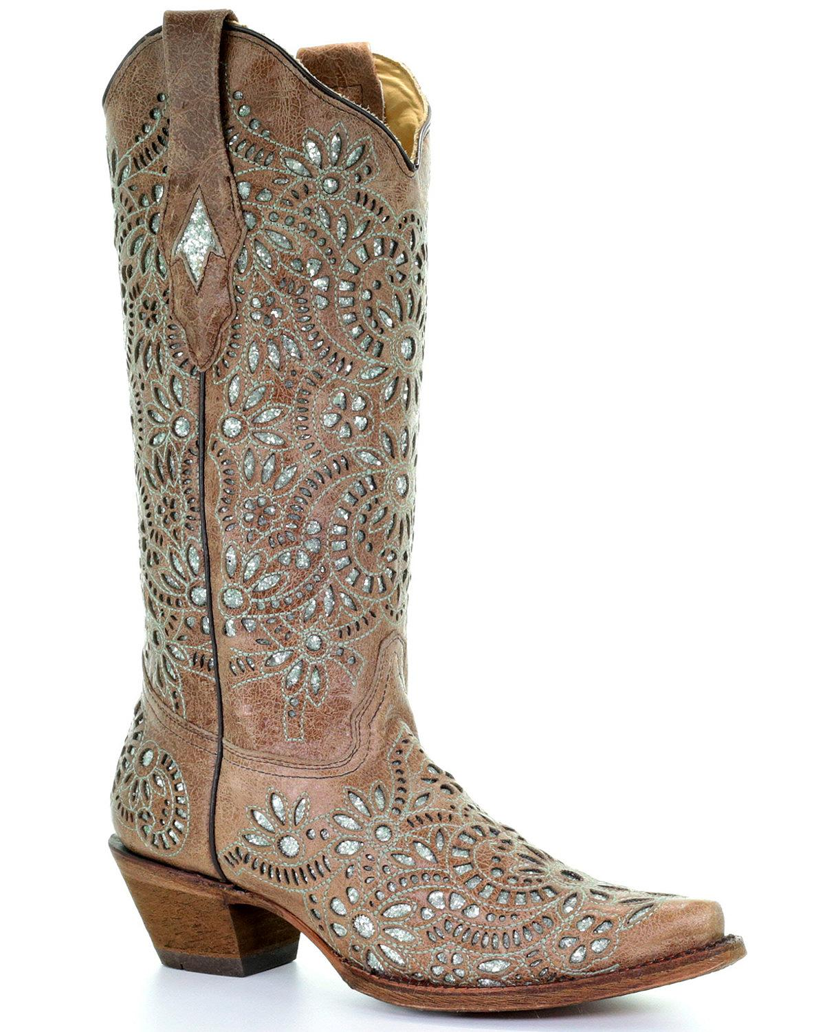 7dc2de60f49 Details about Corral Women's Glitter Inlay and Embroidered Cowgirl Boot -  Snip Toe - A3352