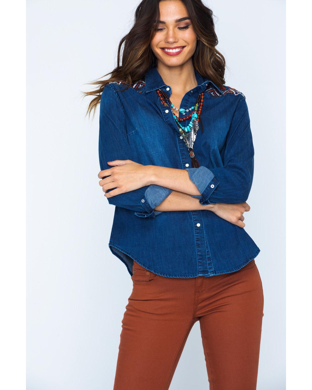 8c92c3f20e4 Grace in LA Embroidered Shirt - JNW2139 Denim nrwhez27335-Jeans ...