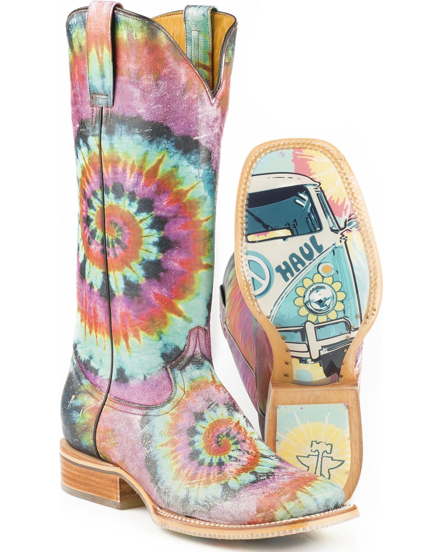 vendita outlet Tin Haul Haul Haul Donna  Groovy with Tie Dye Camper Sole Cowgirl avvio - Square Toe blu  ordina adesso