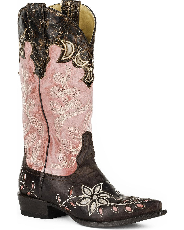 a prezzi accessibili Stetson Donna  April Floral Embroidered Western Western Western avvio Snip Toe -  negozio online