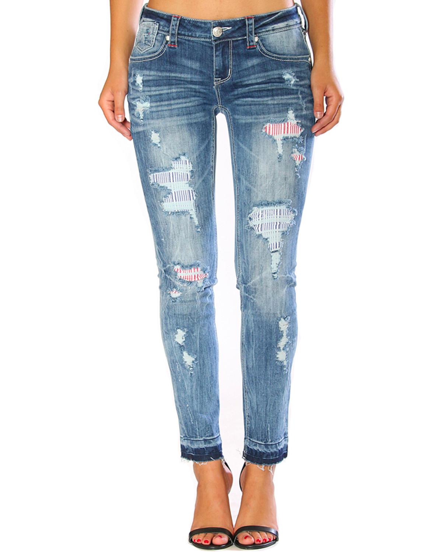 Grace in LA Women's Americana Destructed Release Hem Skinny Jeans - EN51292