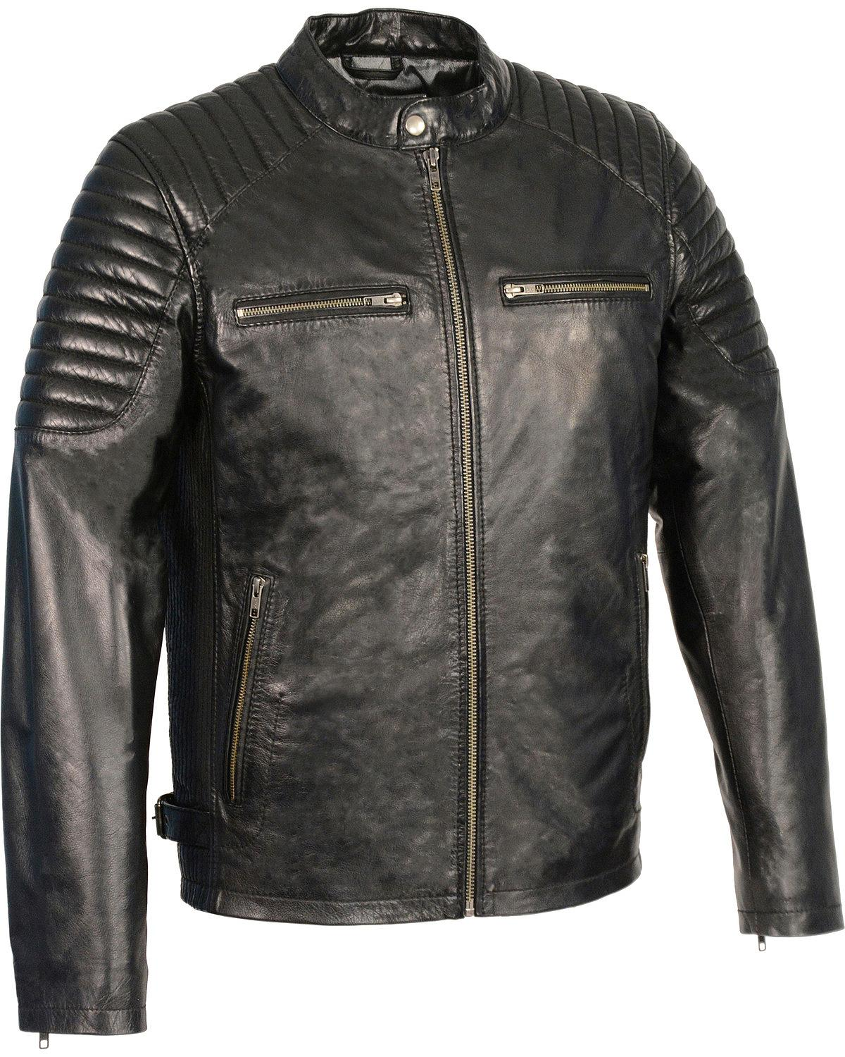 Milwaukee Leather Mens Quilted Shoulders Snap Collar Jacket