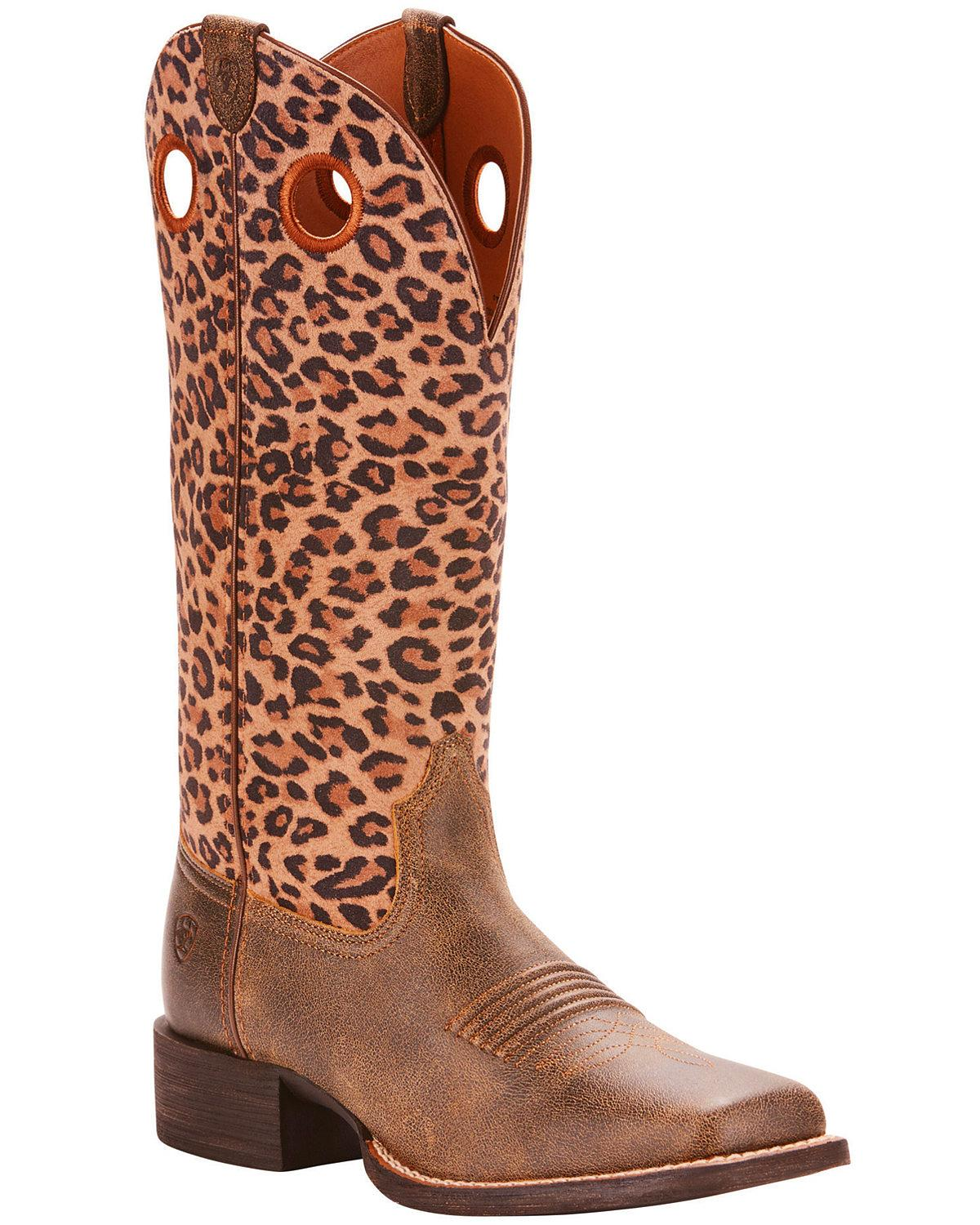 Ariat Women's Leopard Print Round Up Ryder Boot - Square Toe  - 10025039