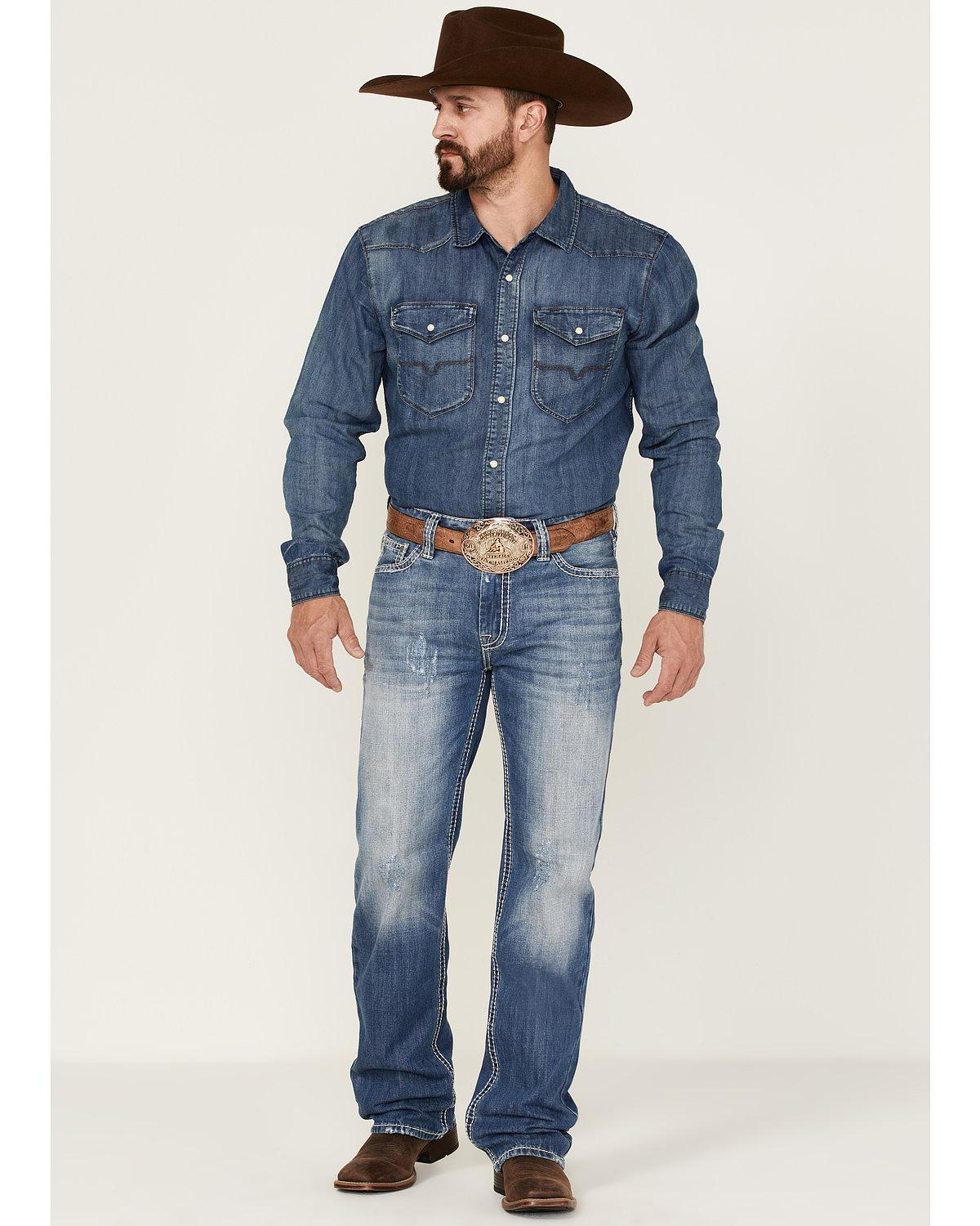 Raised And Denim Leg Cowboy Roll Men's Blue Rock Straight Jeans Medium dXnawqUFFW