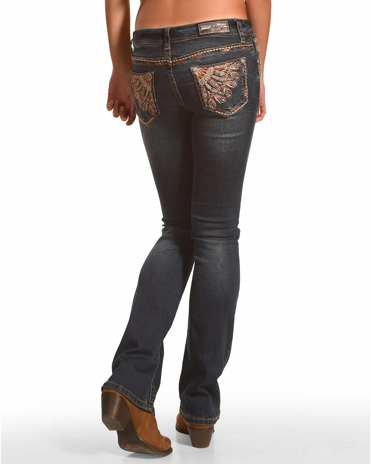 Grace in LA Women's Feather Embroidered Straight Leg Jeans - JB3233
