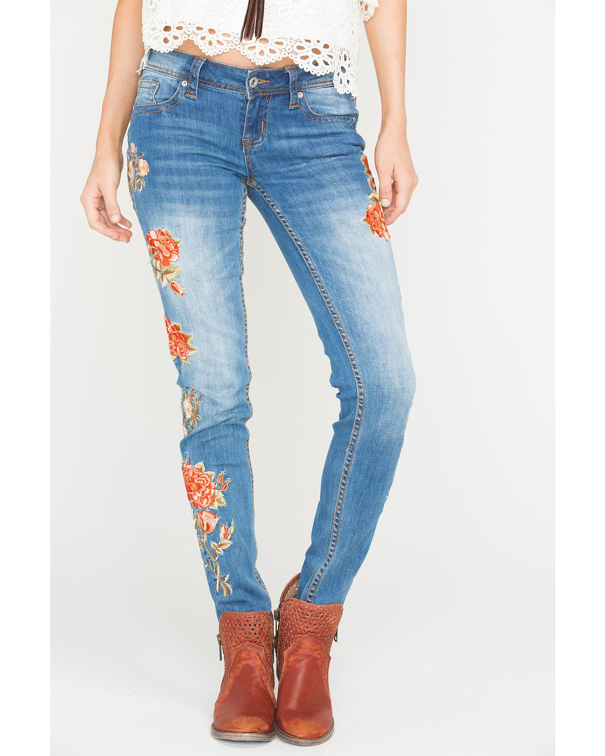 Grace in LA Women's Floral Embroidered Skinny Jeans - JNW3216