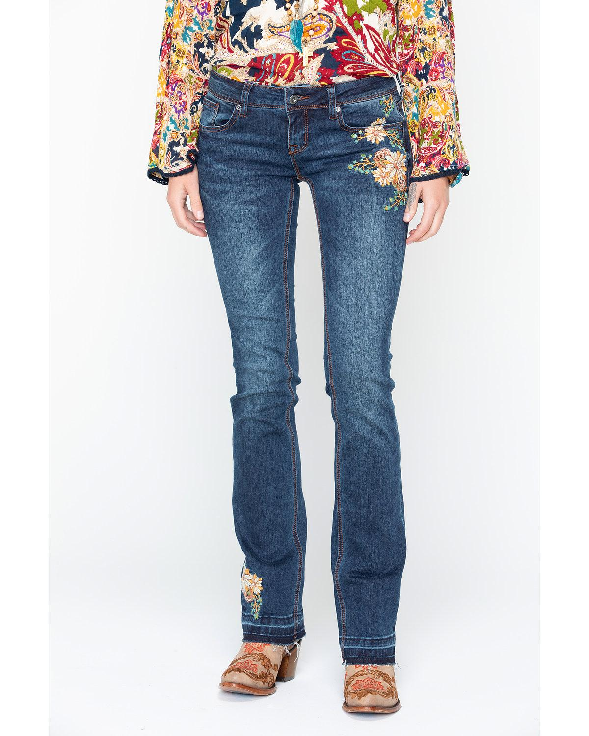 Grace In LA Women's Floral Embroidered Boot Cut Jeans - JB71040