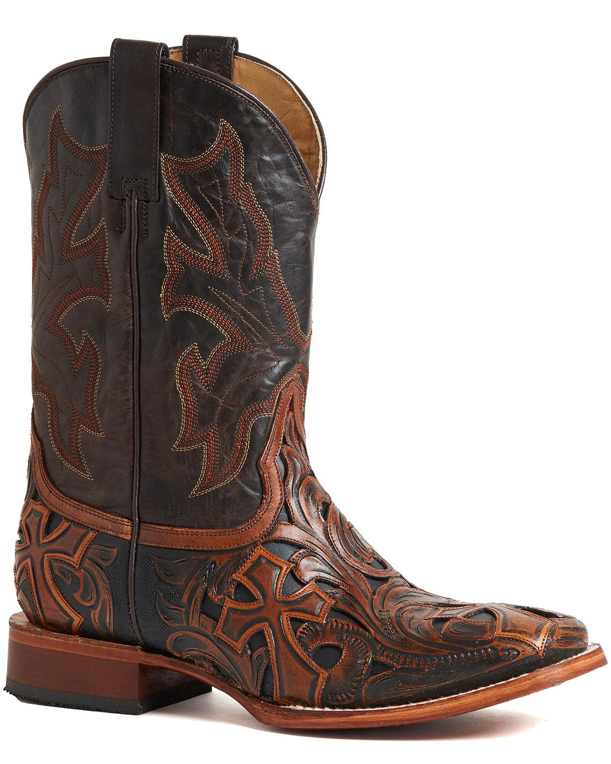 Stetson Men's Handtooled Cross avvio - Square Toe  - 12-020-8861-1640 BR