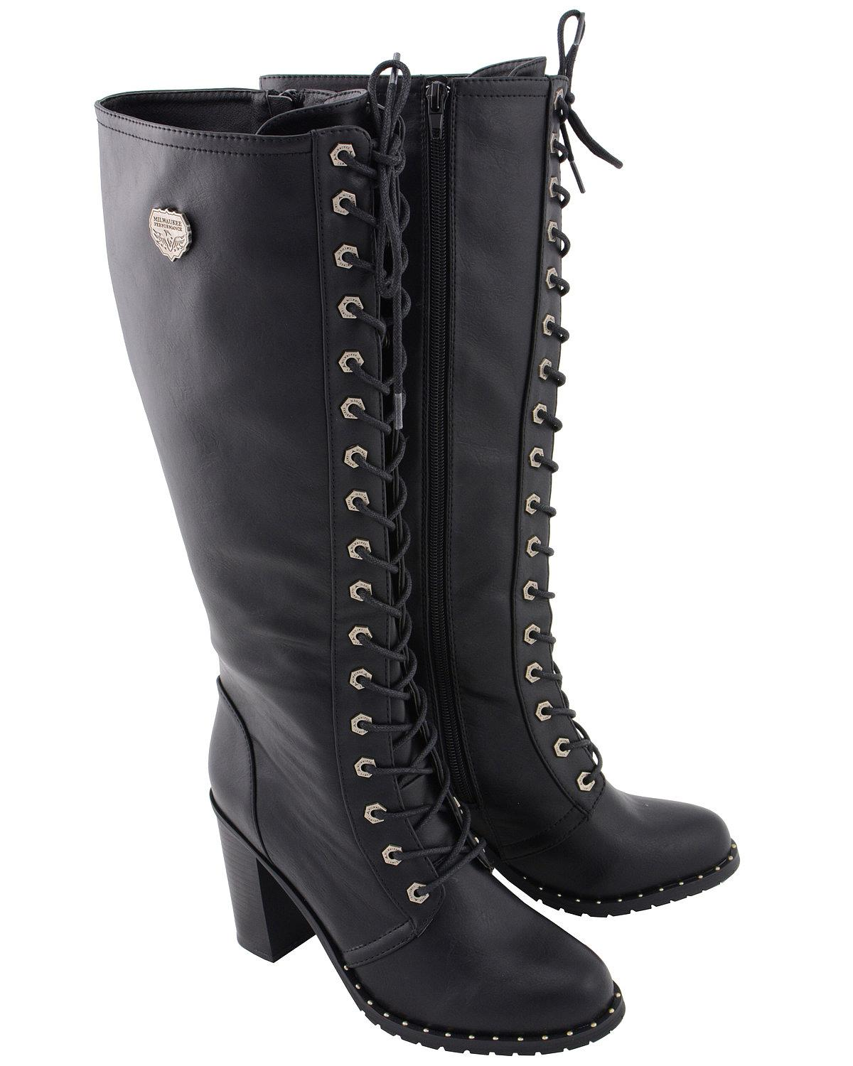 Milwaukee Leather Women/'s Lace Up Buckle Boot MBL9310