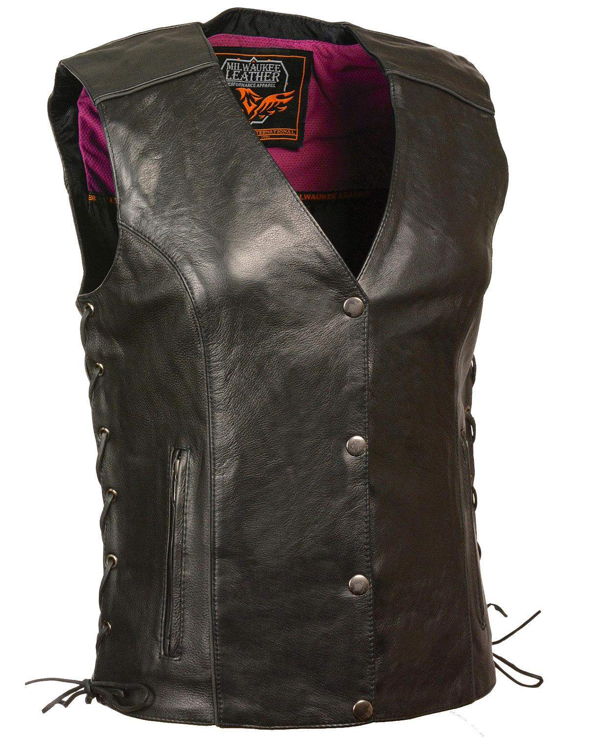 Milwaukee Leather Women's Stud and Wings Leather Vest - 4X - MLL4505 - 4XL - BLK