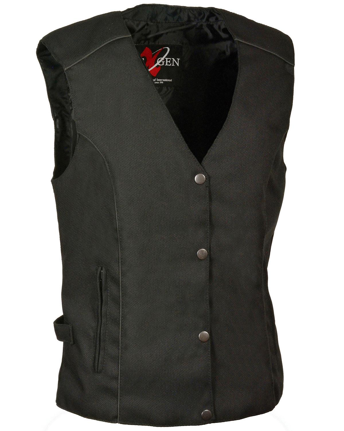 Milwaukee Leather Women's Stud and Wing Embroidered Vest  - - - SH1955 - BLK 081cd3