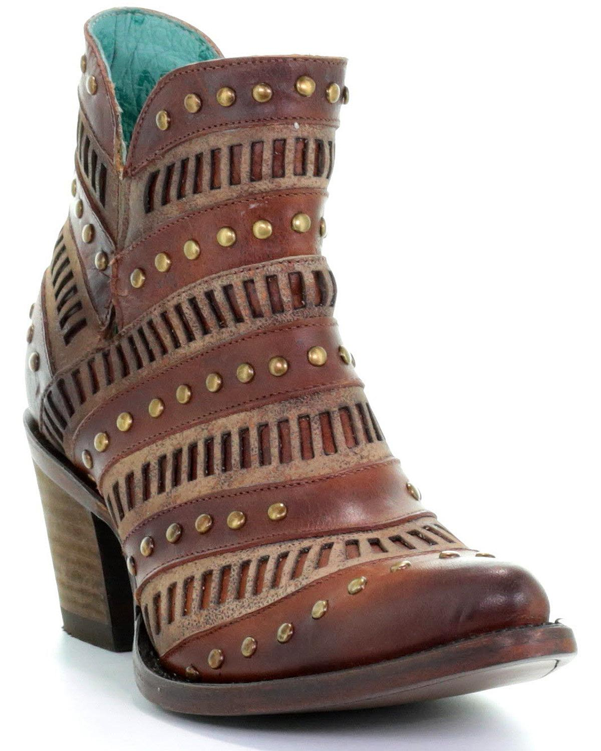 3c5f163122f Details about Corral Women's Studded Inlay Western Booties - Pointed Toe -  E1422