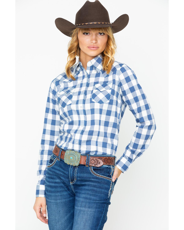 6ba297267 Wrangler Women's Blue Plaid Snap Long Sleeve Western Shirt - LW1855M ...