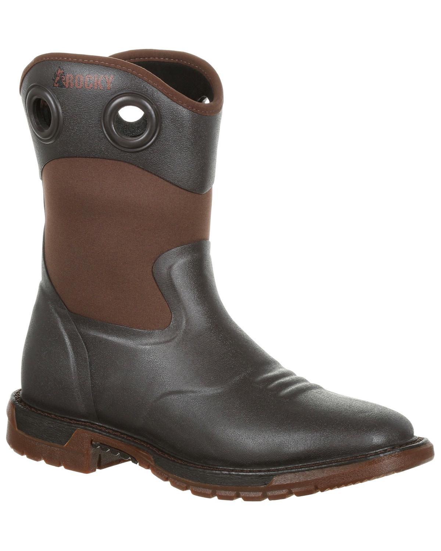 Rocky Para Hombre Impermeable Original Ride Flx Western dedo del pie cuadrado botas De Trabajo Marrón Oscuro