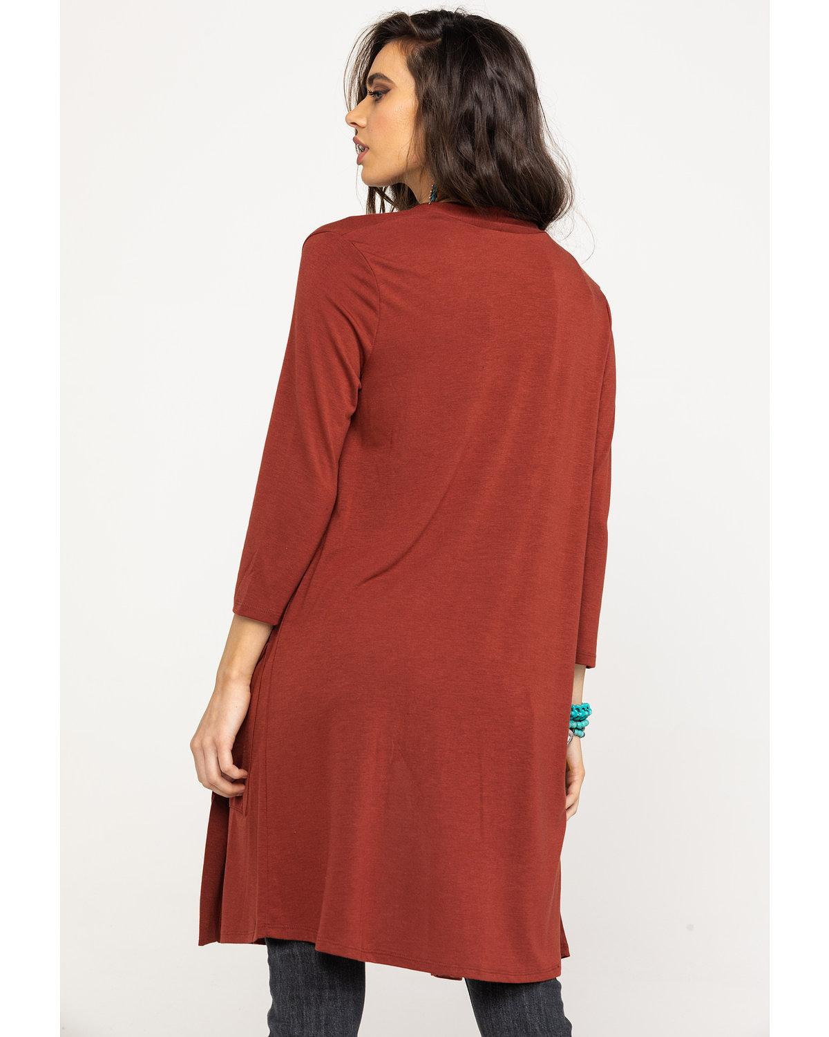 e6a9a859 Panhandle Women's White Label By Rust Copper Long Sleeve Knit Duster ...