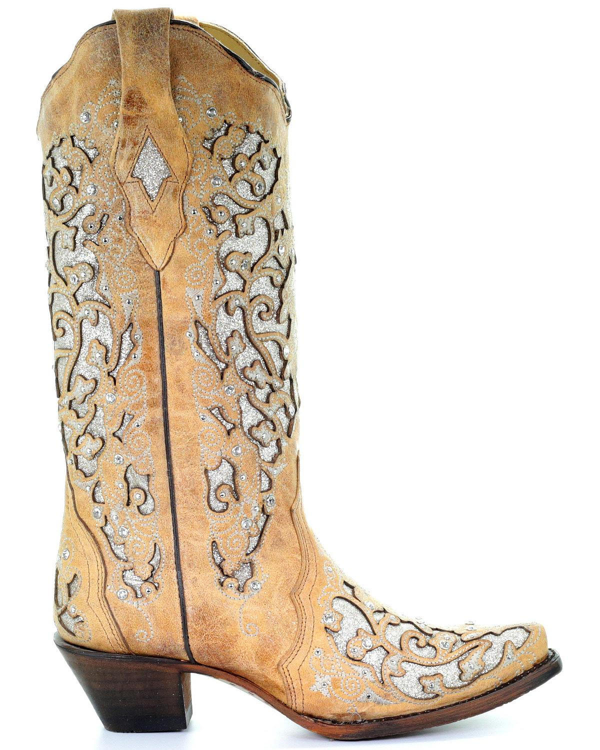 544b6a3ab8b4 Corral Women's Glitter Floral Inlay Western Boot - Snip Toe - A3670 ...