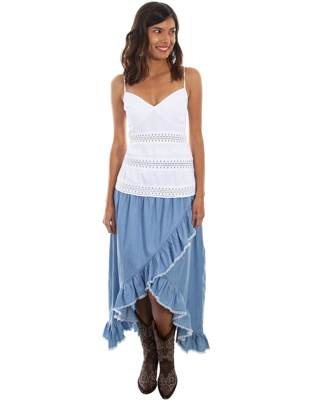 Scully Women's Hi Lo Ruffled Denim Skirt  - HC474