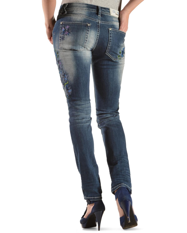 Grace in LA Floral Embroidery Skinny Jeans  - JNW9148LT