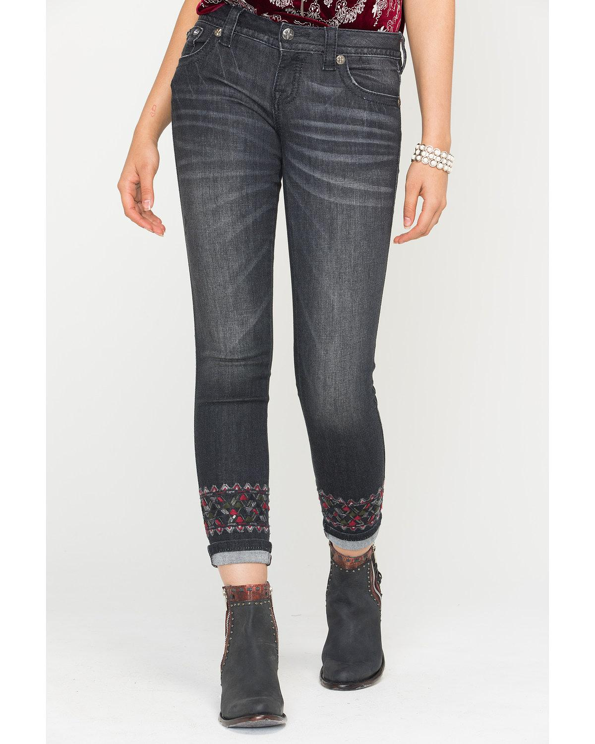 Miss Me Women's Distressed Skinny Cuffs Jeans - JP7713 BLK 29