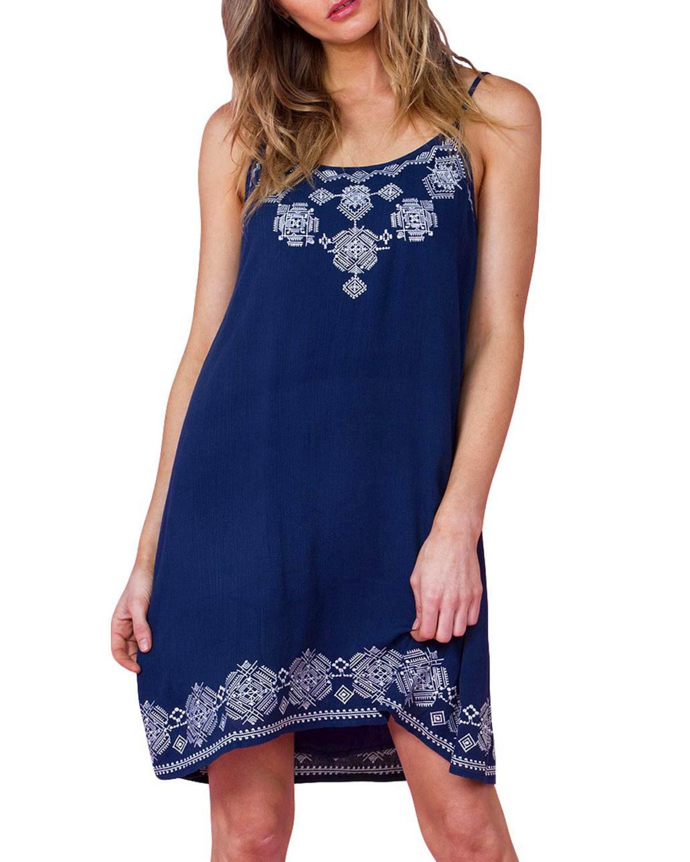 Miss Me Women's Navy Crochet Sundress  - MDD357T NAVY